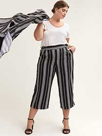 Wide-Leg Striped Cropped Pant
