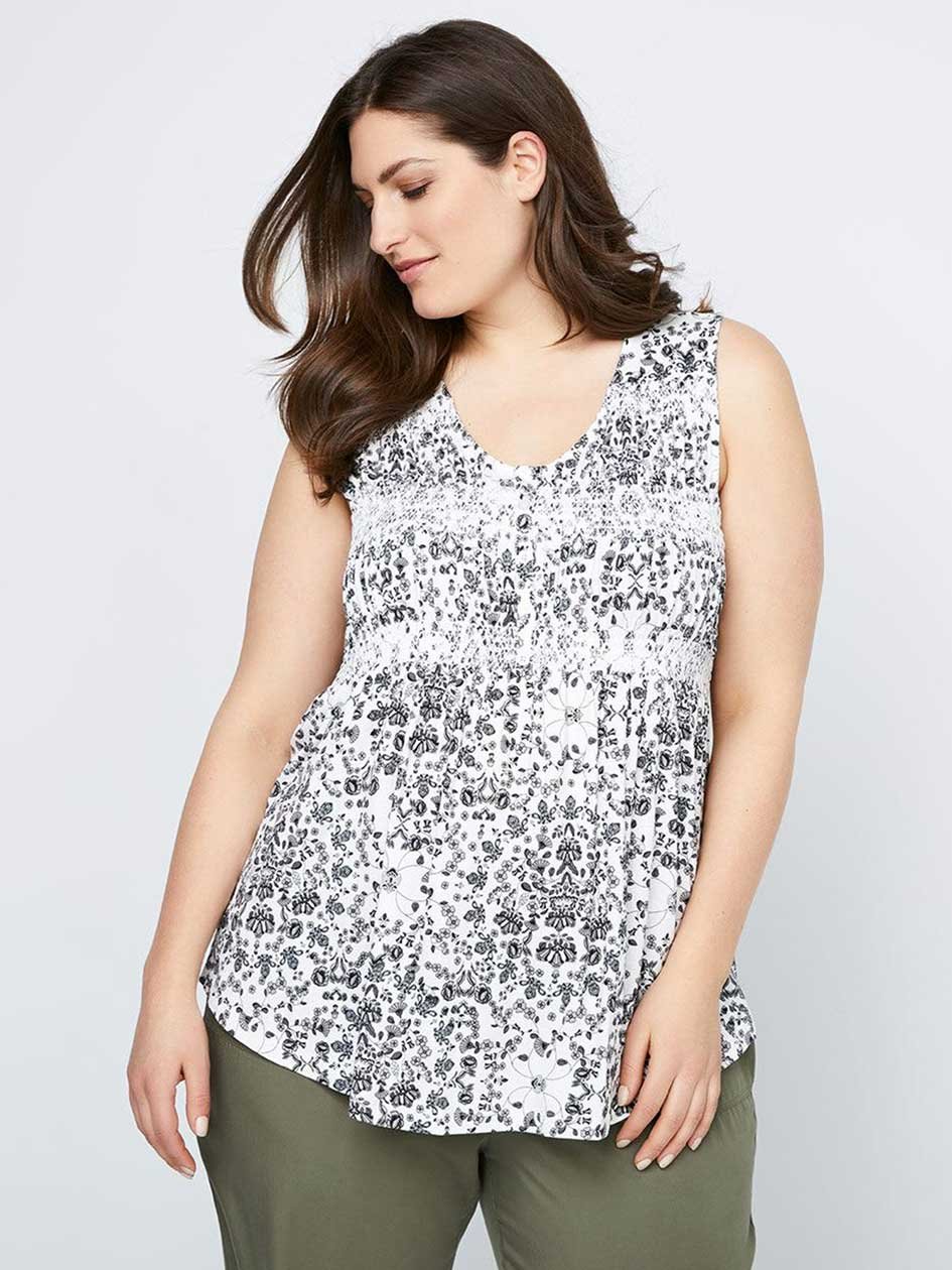 Printed Knit Camisole with Buttons - In Every Story