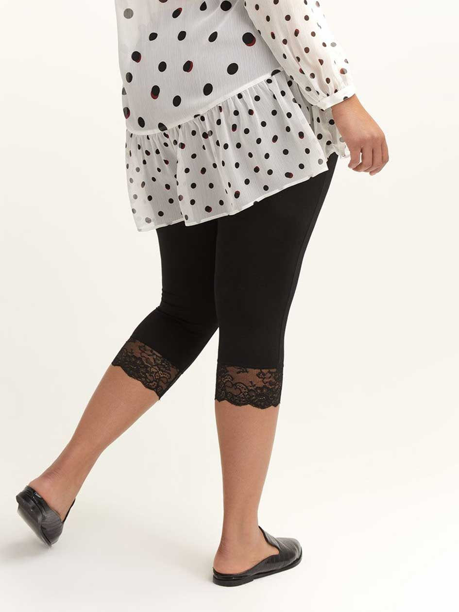 Solid Capri Leggings with Lace Hem