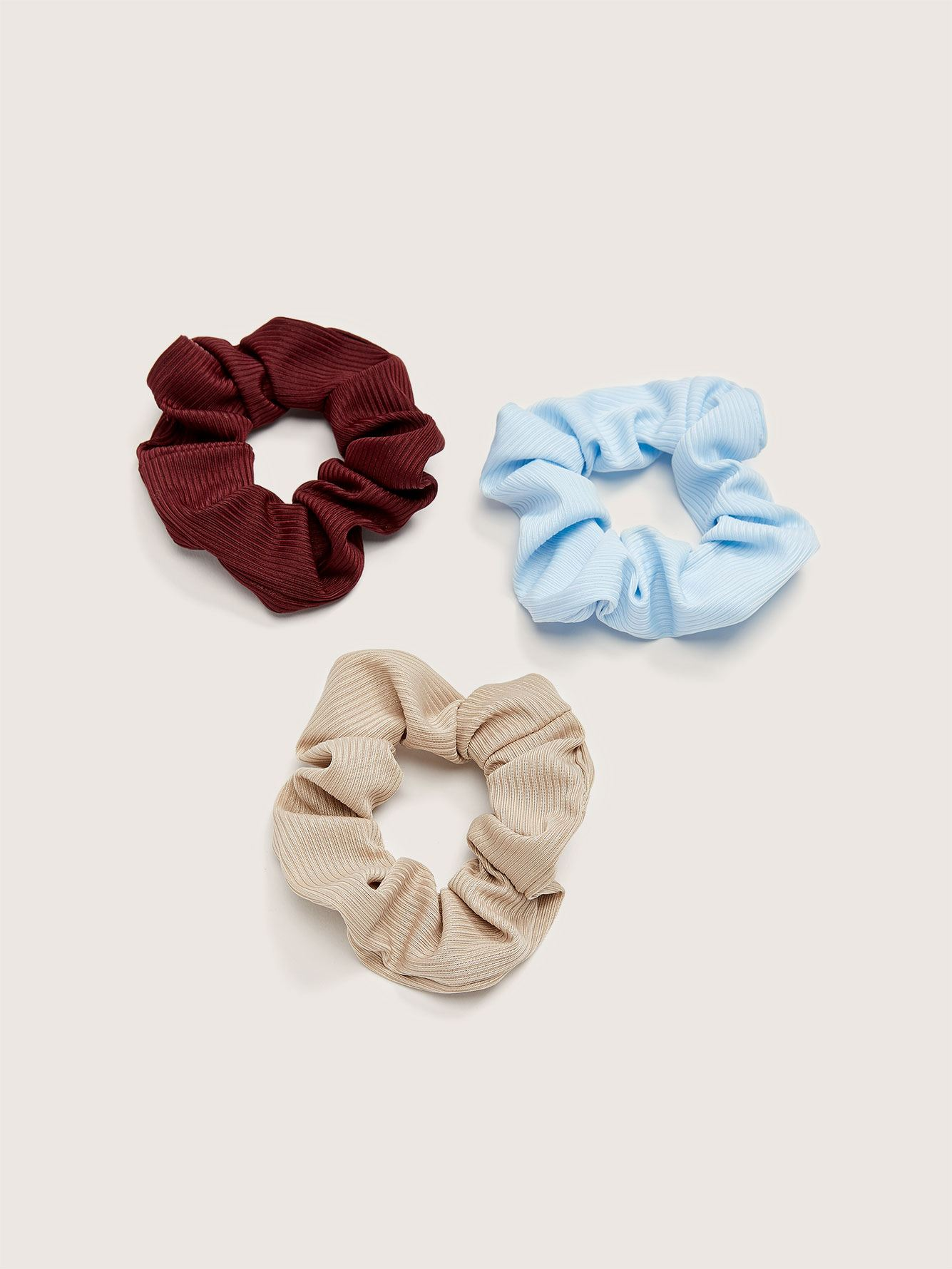 Ribbed Hair Scrunchies, 3-Pack - Addition Elle