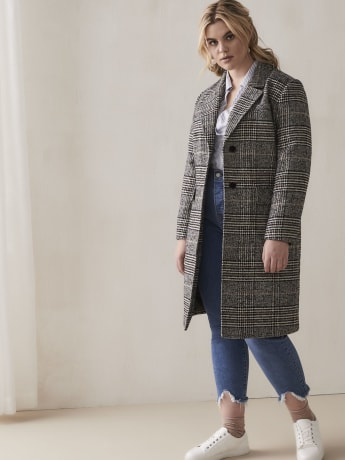 Mid-Length Plaid Overcoat - Addition Elle