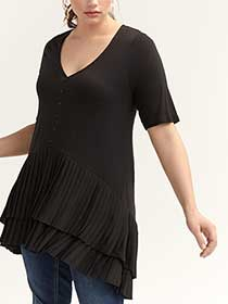 Mixed Fabric Tunic with Pleated Double Layer Hem