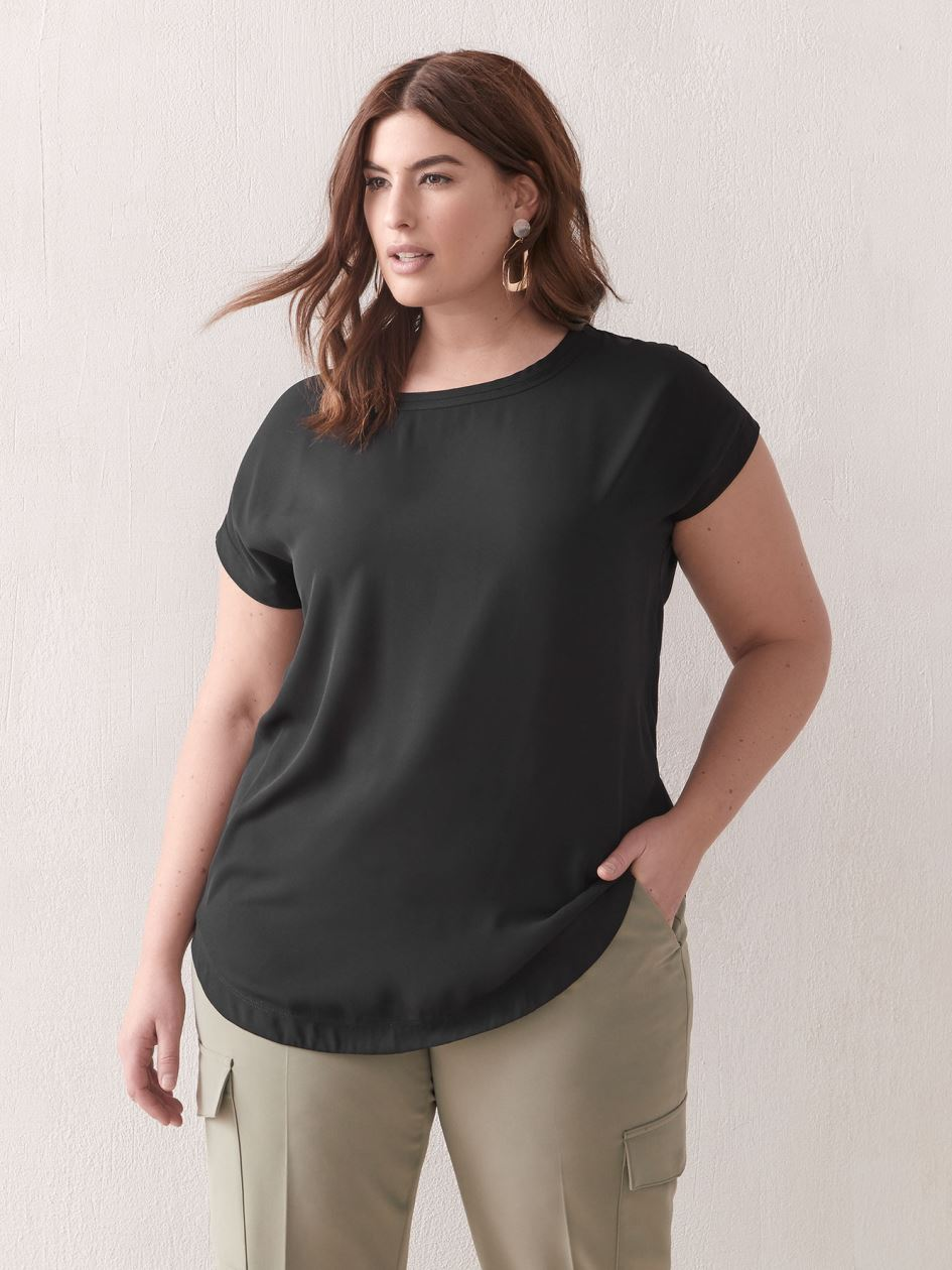 Mixed-Media Tunic Top - Addition Elle
