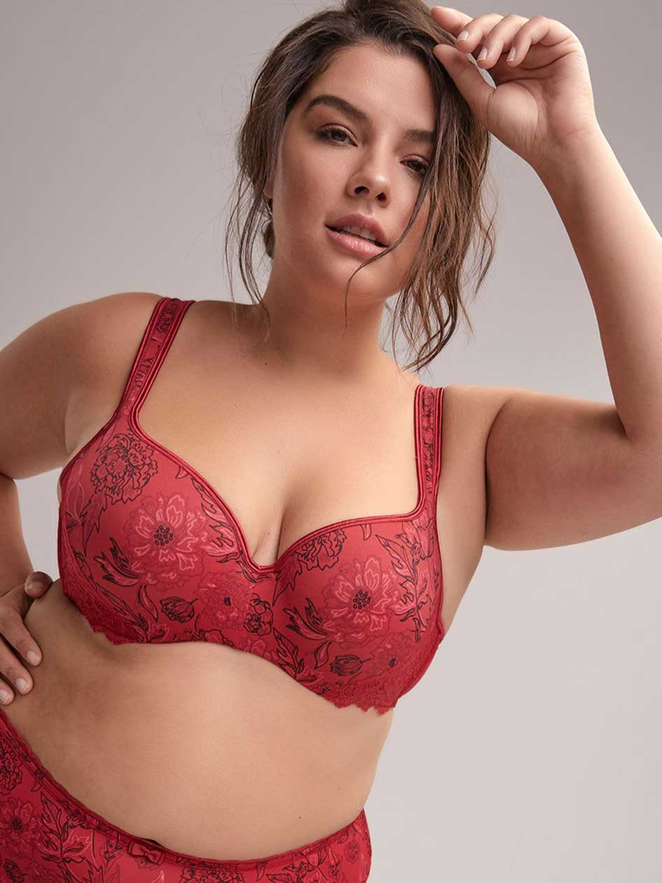 Floral Padded T-Shirt Bra with Lace - ti Voglio
