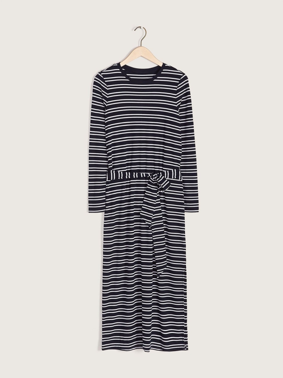 Striped Long-Sleeve T-Shirt Dress - Addition Elle