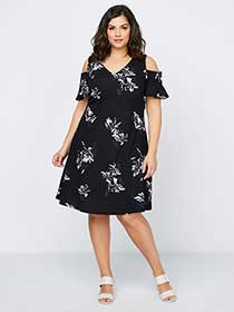 Printed Fit & Flare Dress with Cold Shoulder - In Every Story