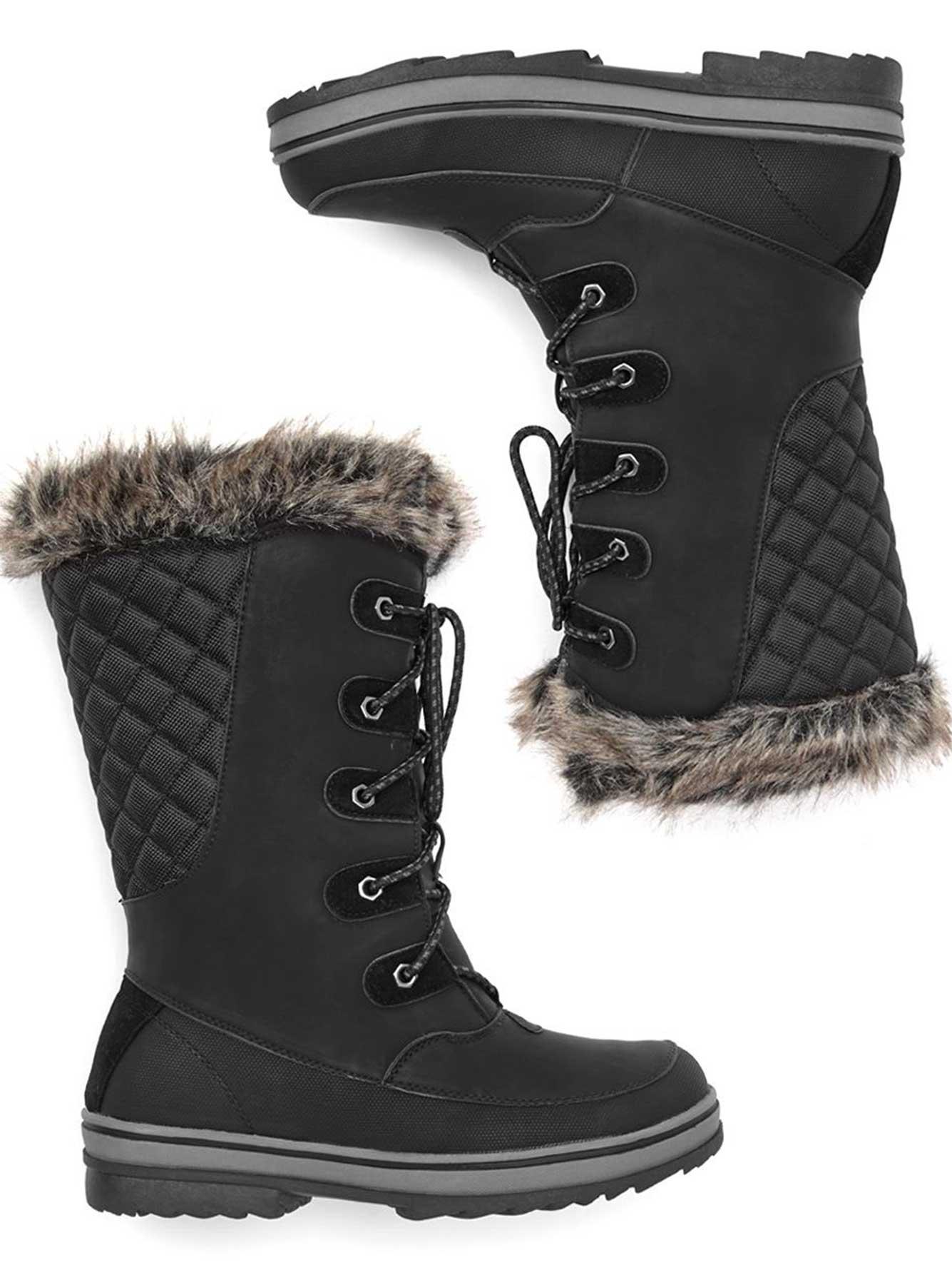 7ecead4ee5 Bottes d'hiver à fausse fourrure, pieds larges