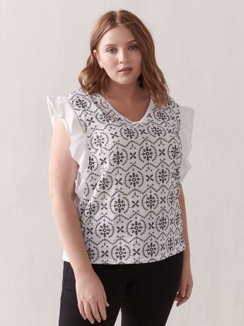 Flutter-Sleeve Mix Media Top - Addition Elle