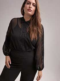 Long Sleeve Sheer Blouse with Lace Trim - In Every Story