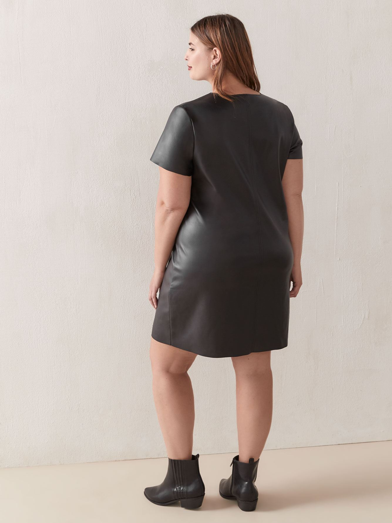 Solid Short Sleeve Faux Leather Dress - Love & Legend