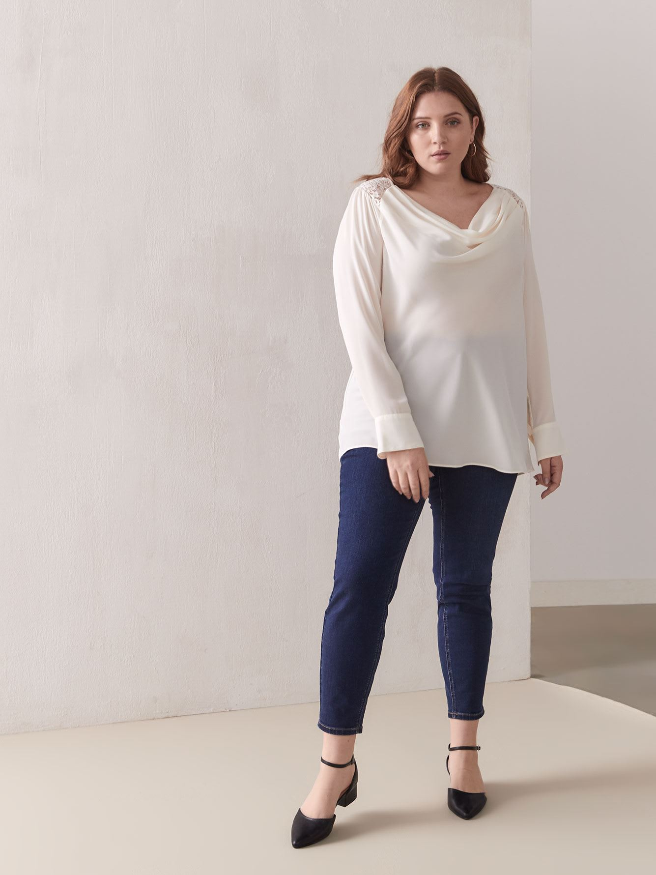 Draped Blouse With Lace Yoke - Addition Elle
