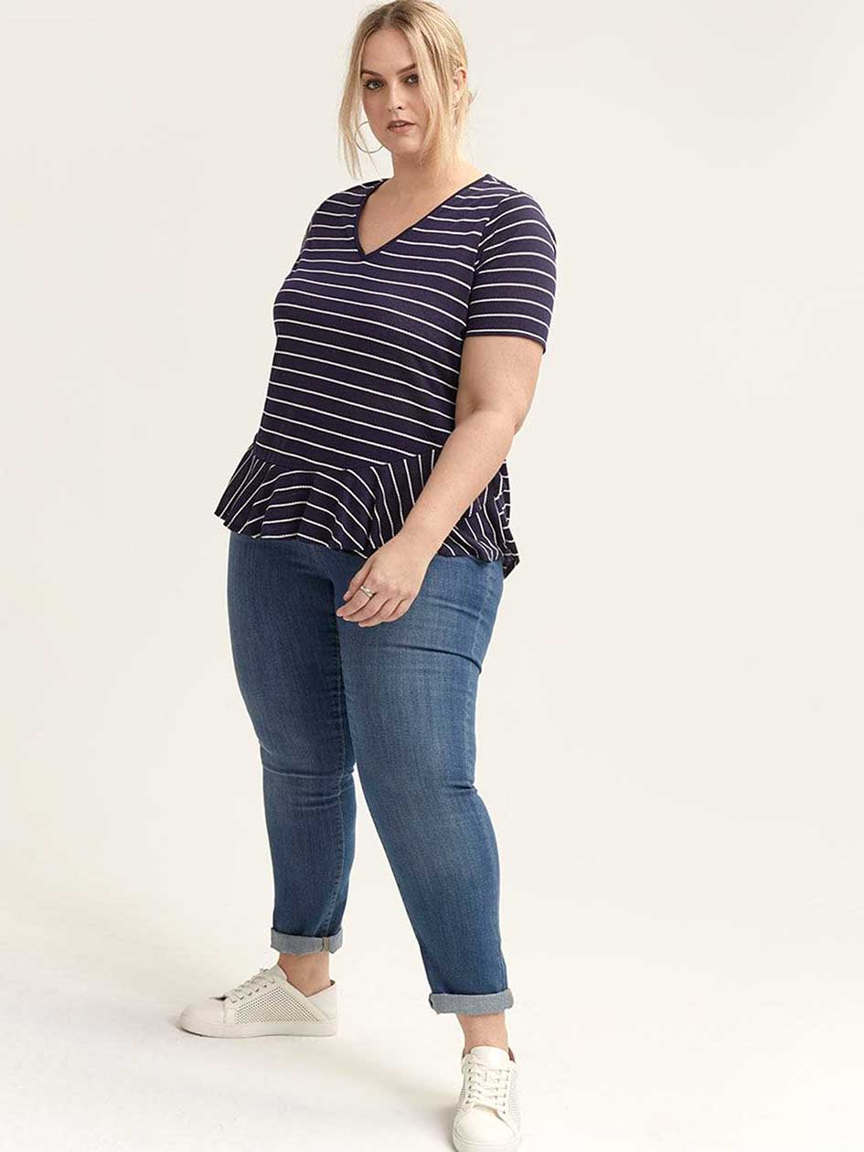 Striped Short Sleeve Top with Ruffles - d/C JEANS