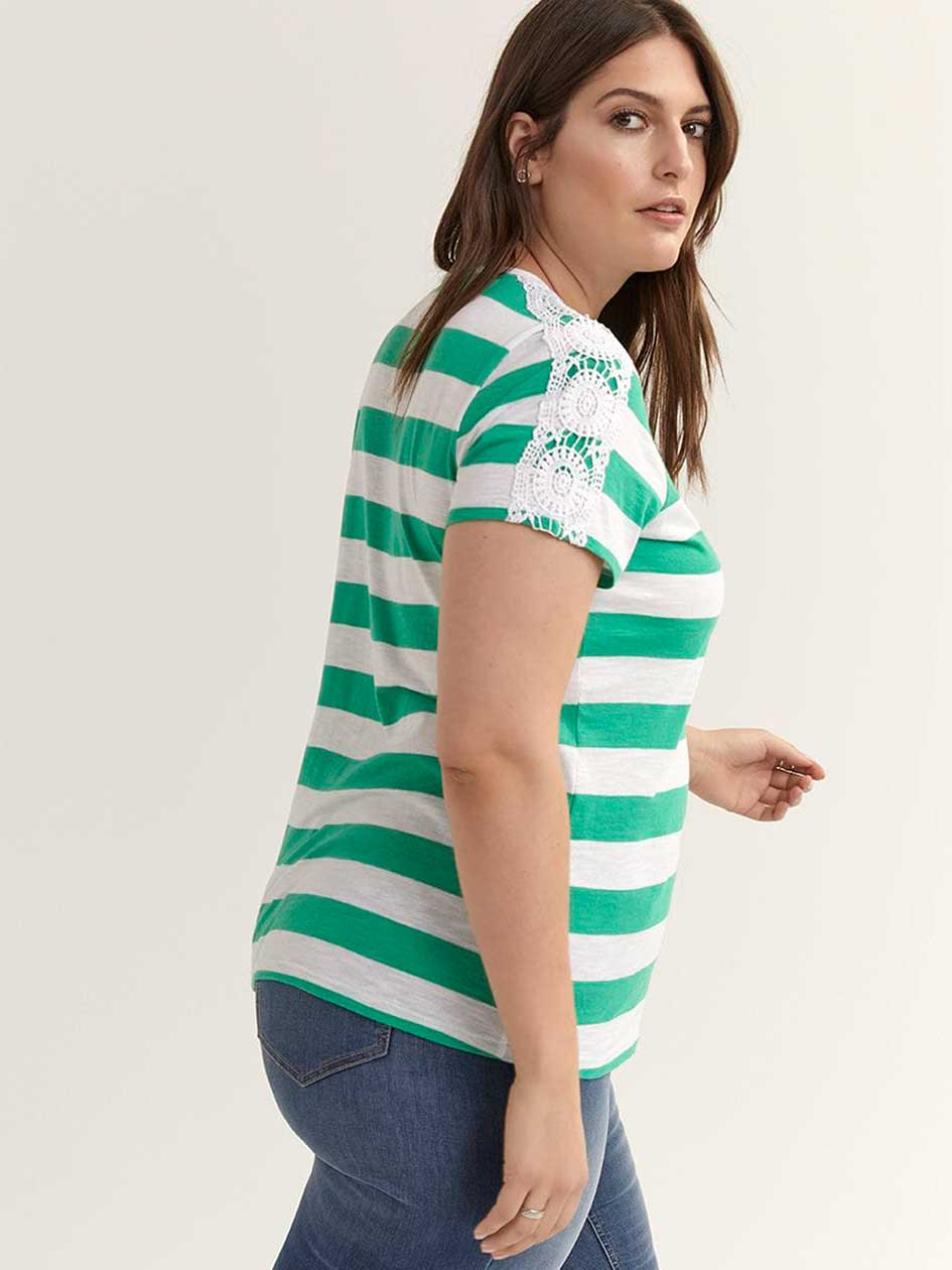 Short Sleeve Striped Top with Crochet - d/C JEANS