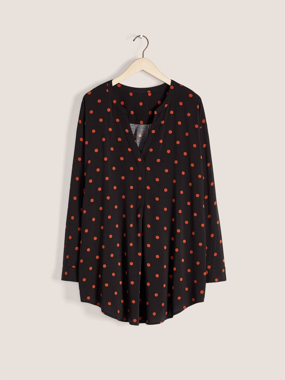 Printed Mandarin Collar Tunic Blouse - In Every Story