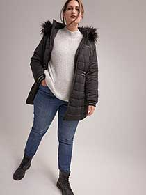 Ribbed Puffer Jacket with Lurex Band at Waist - In Every Story