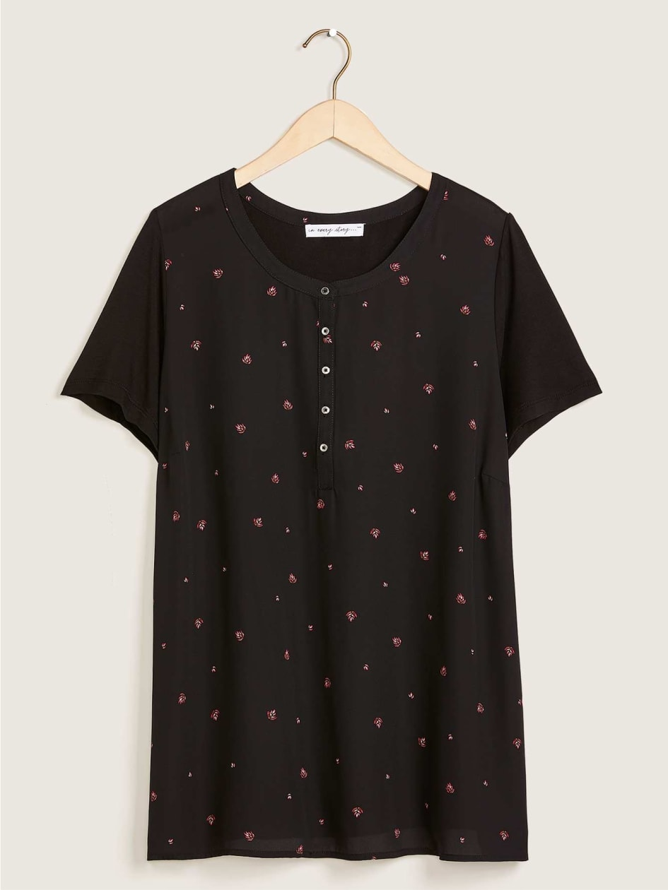 Short Sleeve Mix Media Top - In Every Story