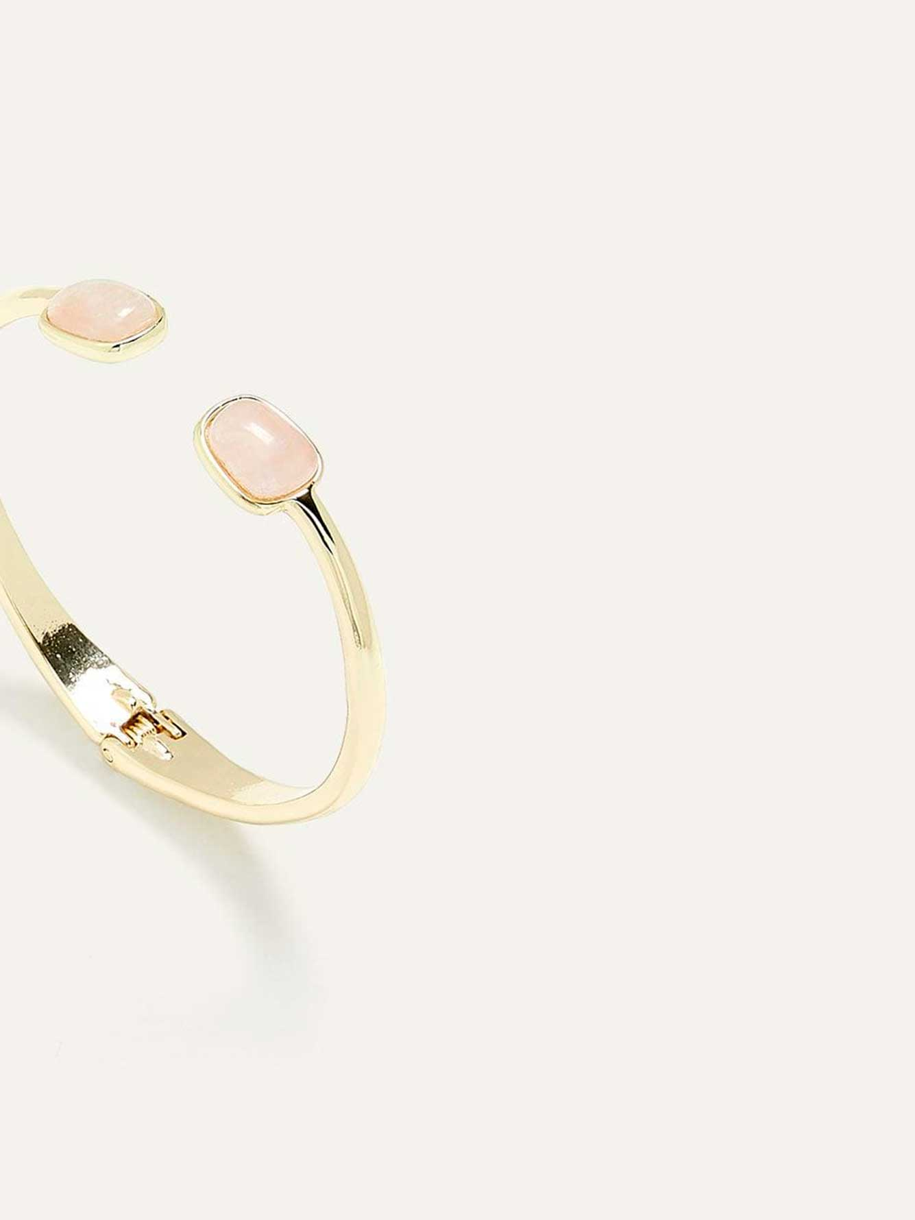 Hinged Golden Bracelet with Real Quartz Stones