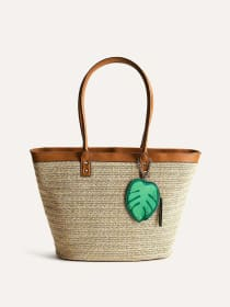 Straw Tote Handbag with Leaf Tag