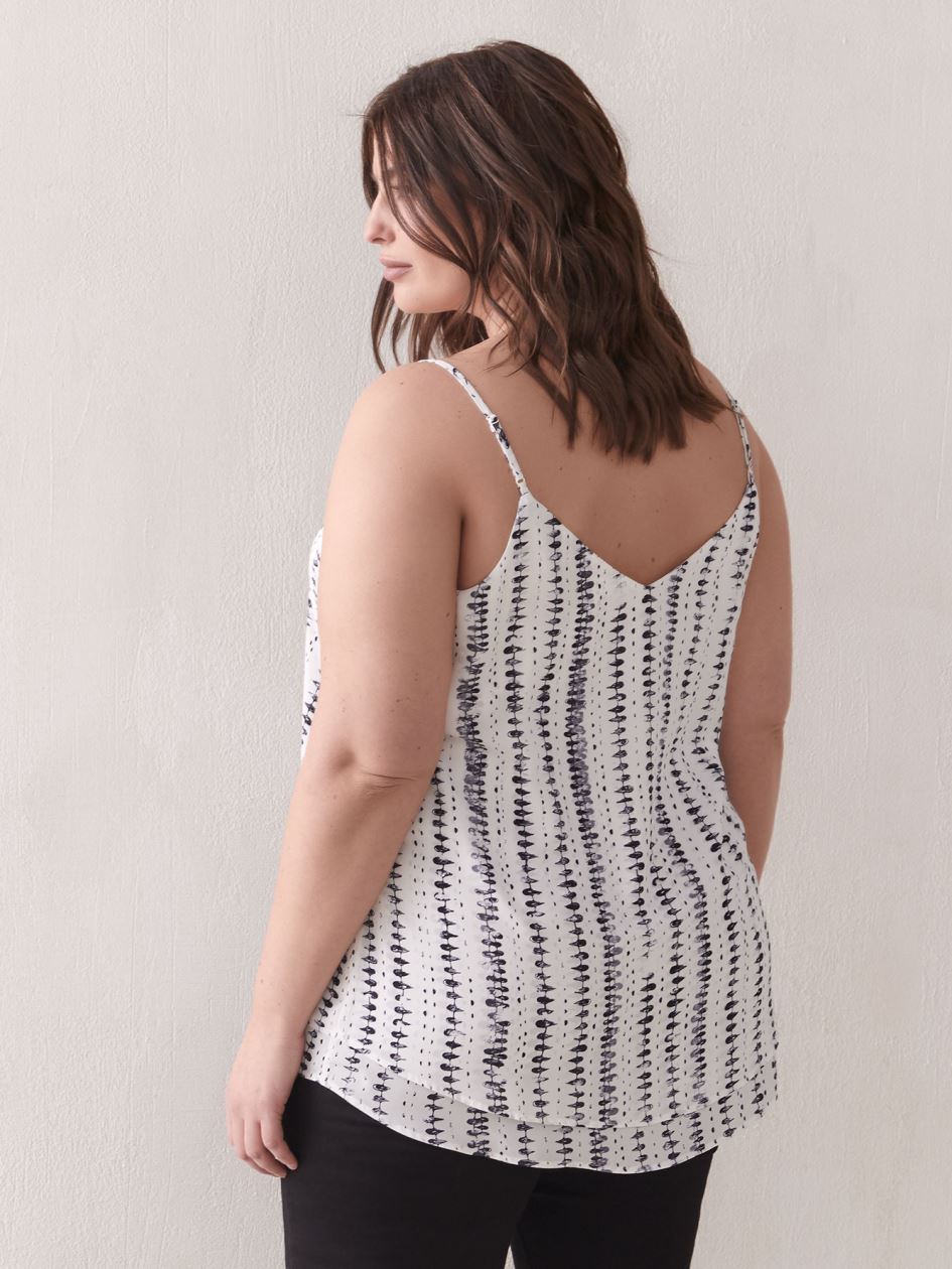 Printed Silky Cami with Adjustable Straps - Addition Elle