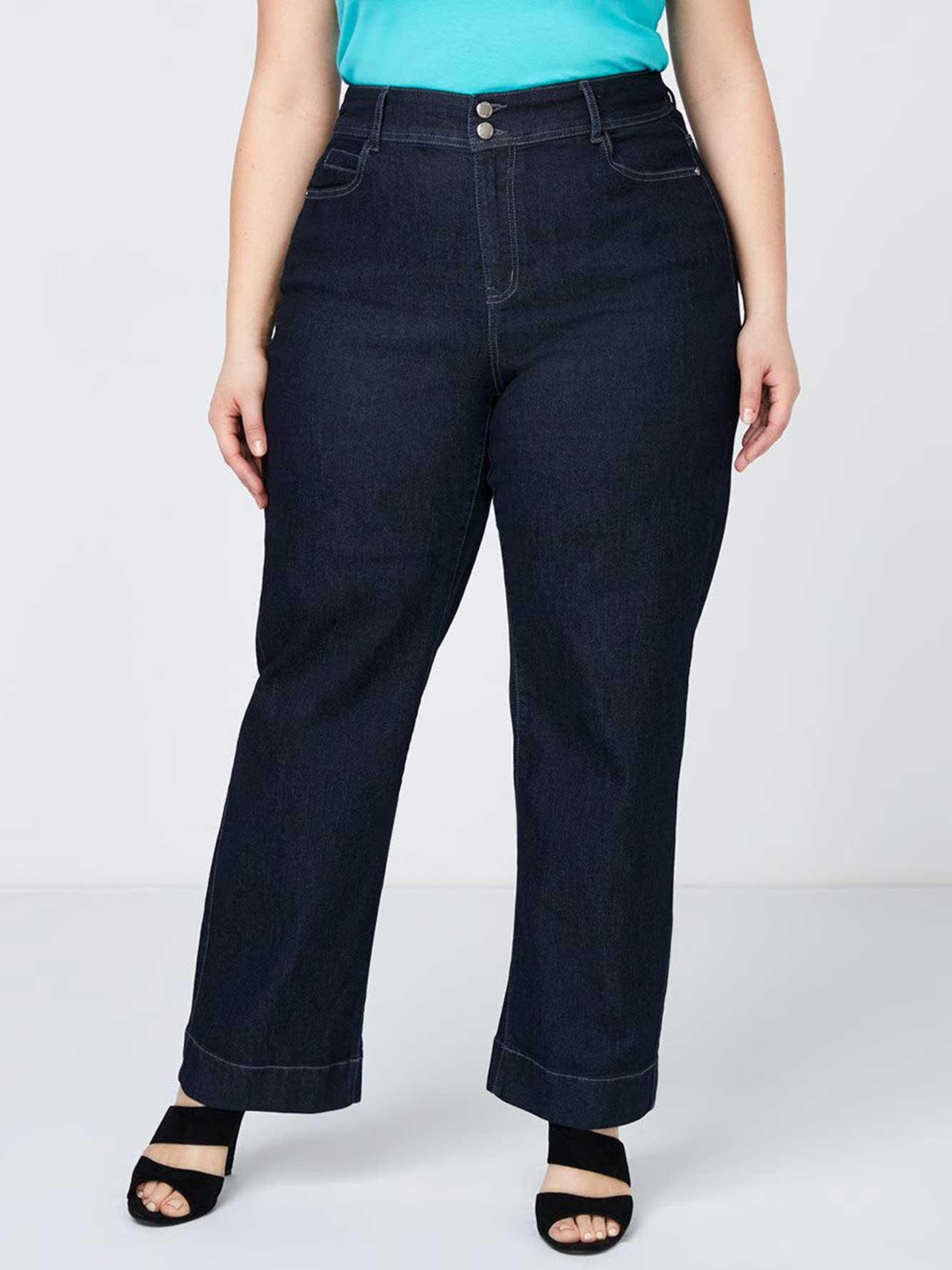 ONLINE ONLY - Tall Curvy Fit Wide Leg Trouser Jean - d/c Jeans