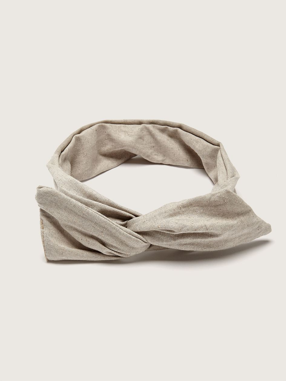Twisted Linen Headband with Integrated Metal Rod - Gibou