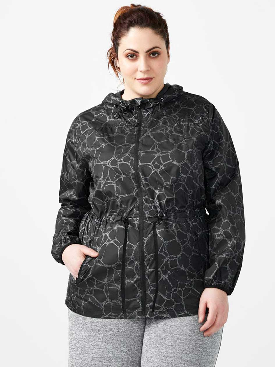ActiveZone - Plus-Size Packable Reflective Jacket with Hood