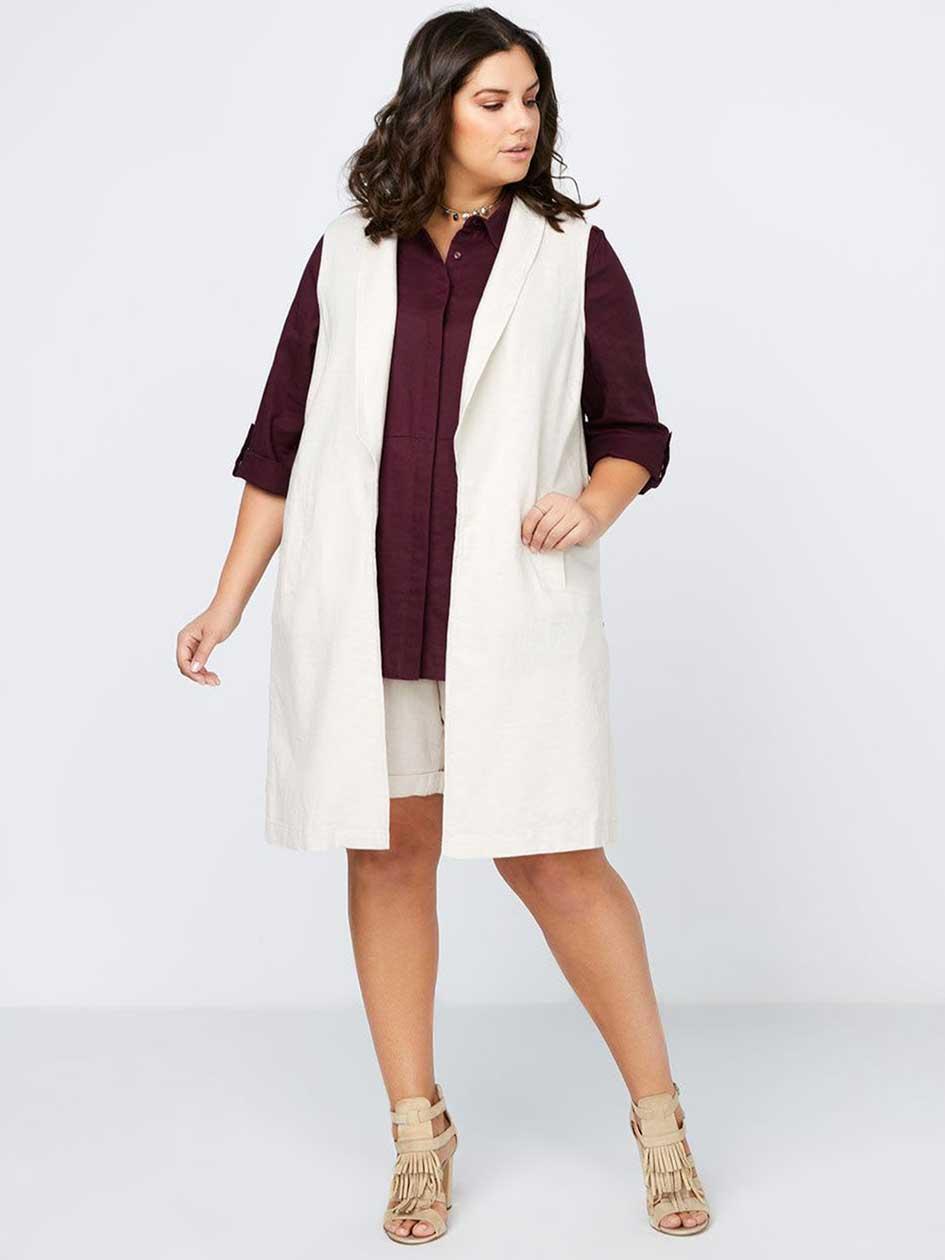 Long Sleeveless Linen Vest - In Every Story