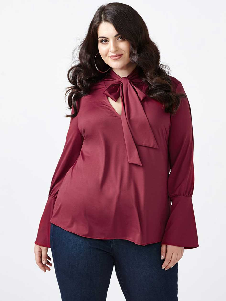 MELISSA McCARTHY Tied Front Blouse with Bell Sleeves
