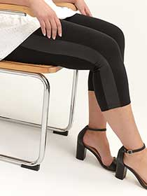 Capri Leggings with Faux Leather Side Stripe