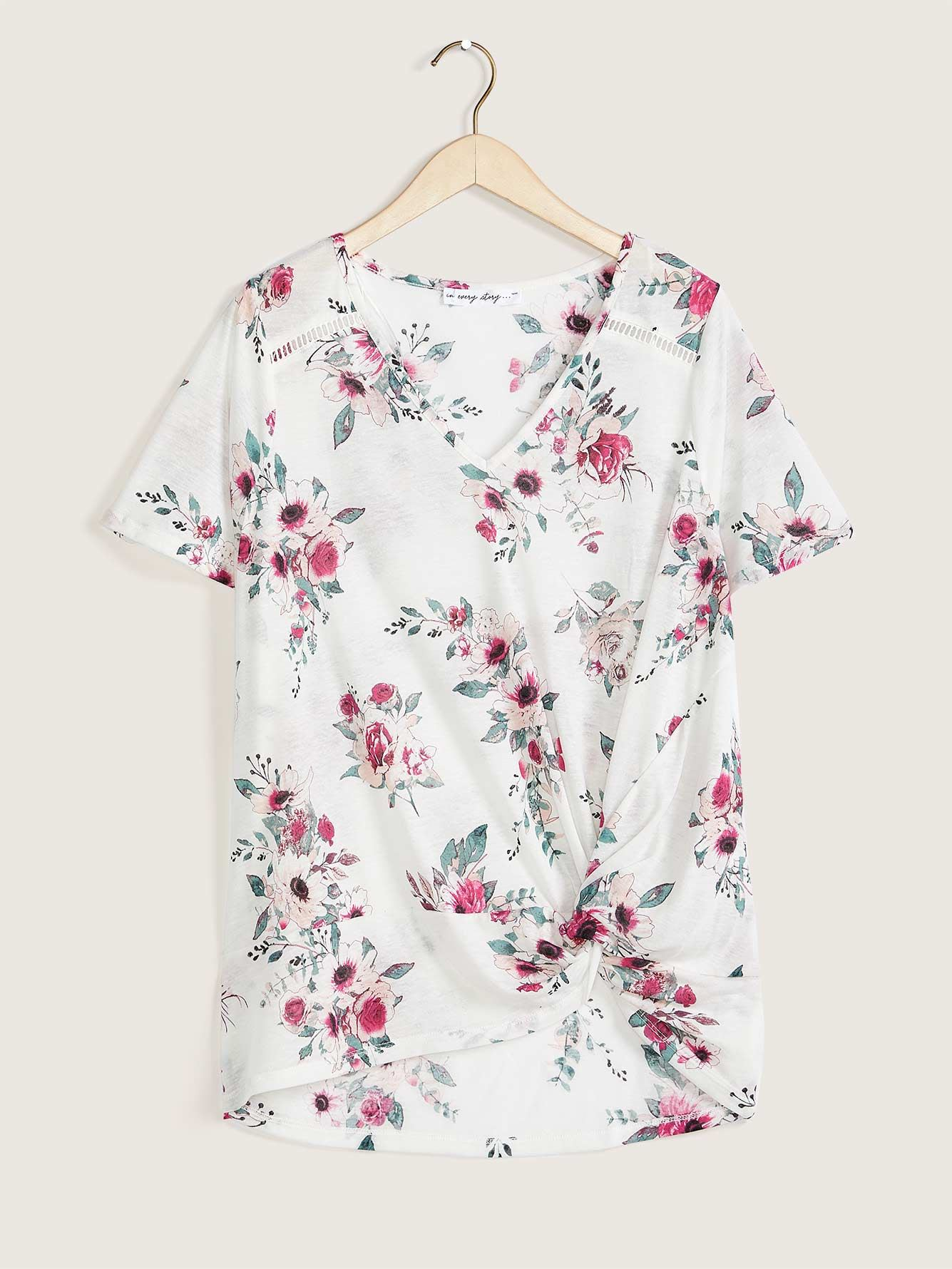 Linen Blend Printed Top With Knot Detail - In Every Story