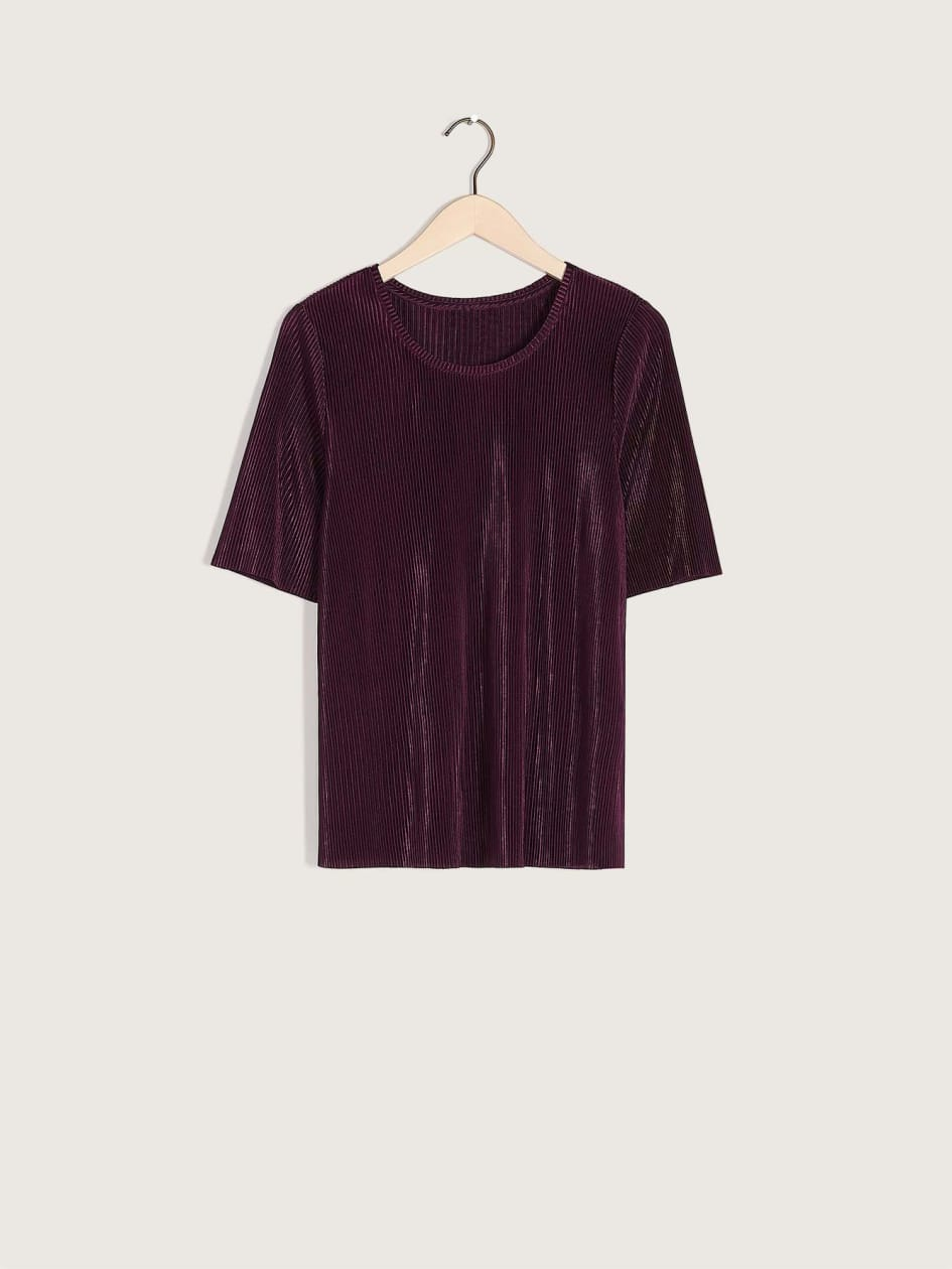 Crew-Neck Plissé T-Shirt - Addition Elle