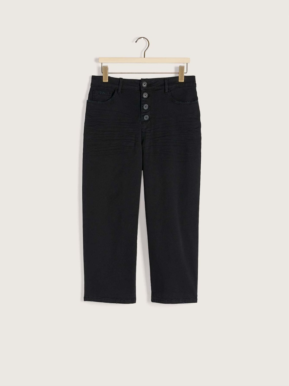 Black Cropped Wide Leg Jean - Addition Elle