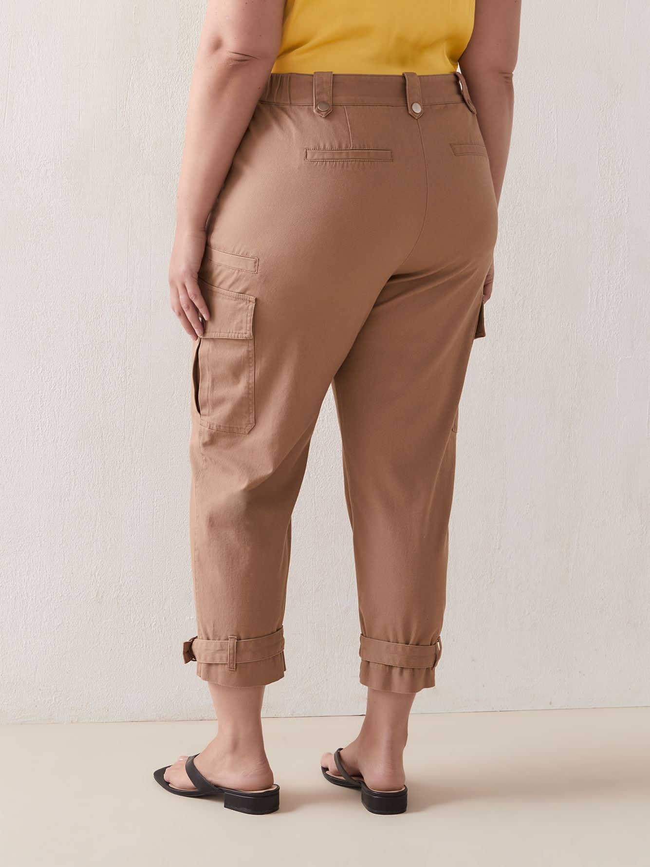 Solid Cotton Cargo Ankle Pant - Addition Elle