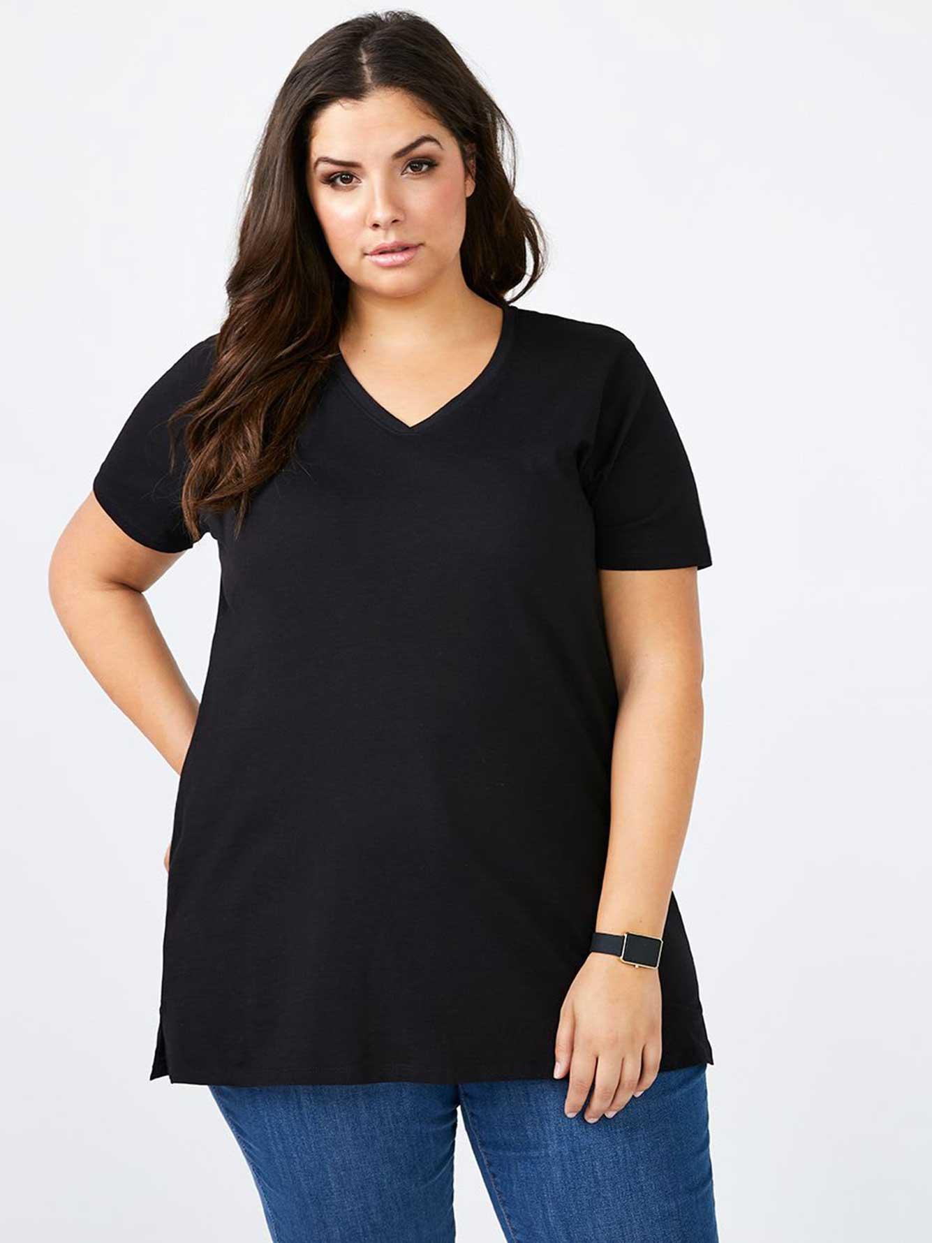 4c92842b7e97 Girlfriend Fit Basic V-Neck Cotton T-Shirt   Penningtons