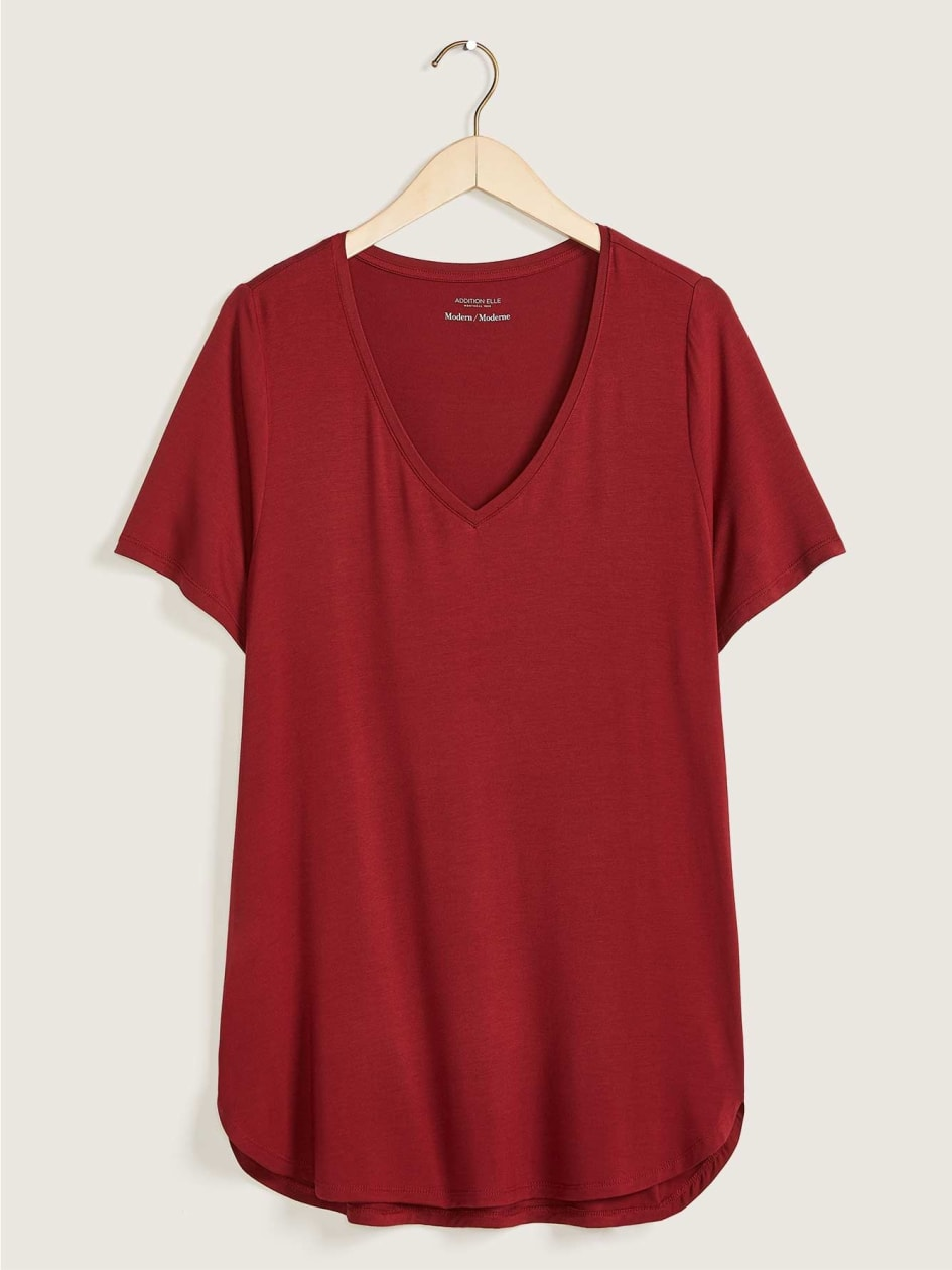 Modern Short Sleeve Tunic Top - Addition Elle