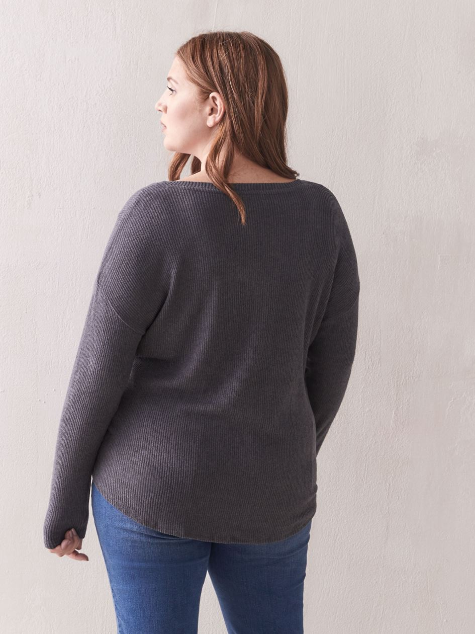 Long Sleeve Henley Top - Addition Elle