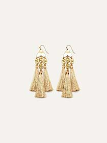 Tassel Earrings with Hammered Effect