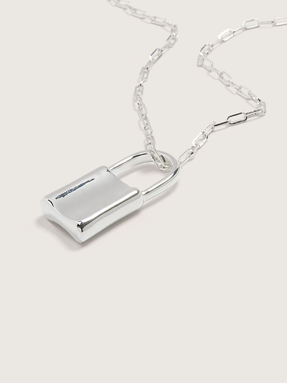 14k Plated Necklace with Lock Pendant - Addition Elle