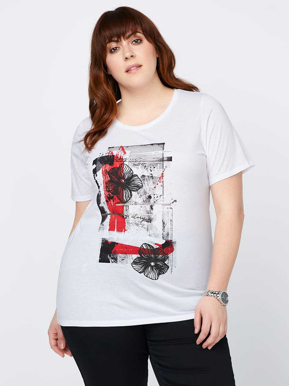 Layering Fit T-Shirt with Print Design - In Every Story
