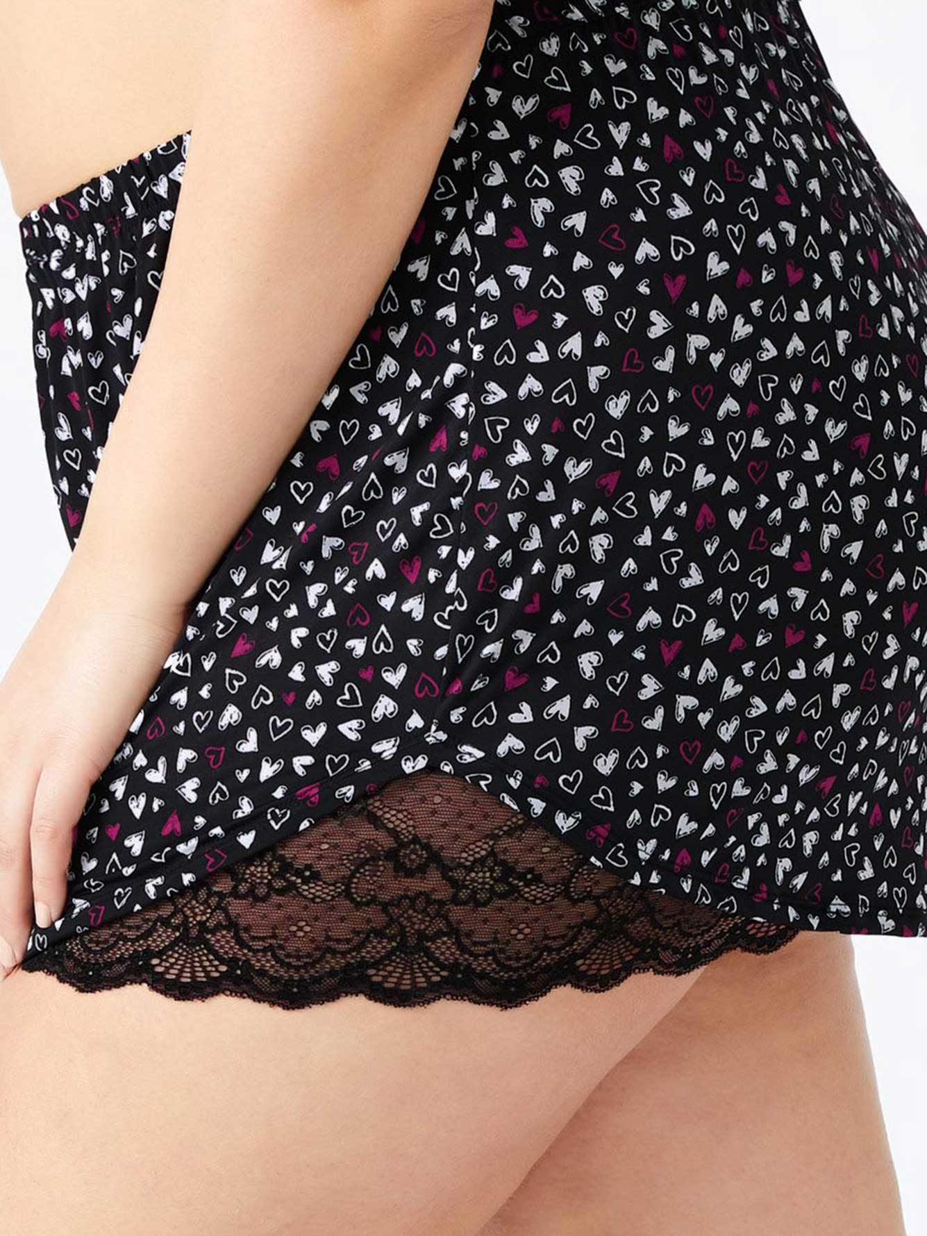 Printed Sleep Short with Lace - ti Voglio