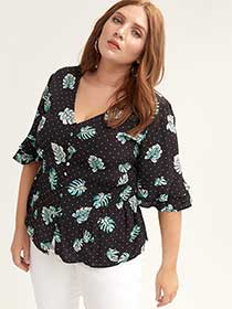 Floral Blouse with Ruffle Sleeve