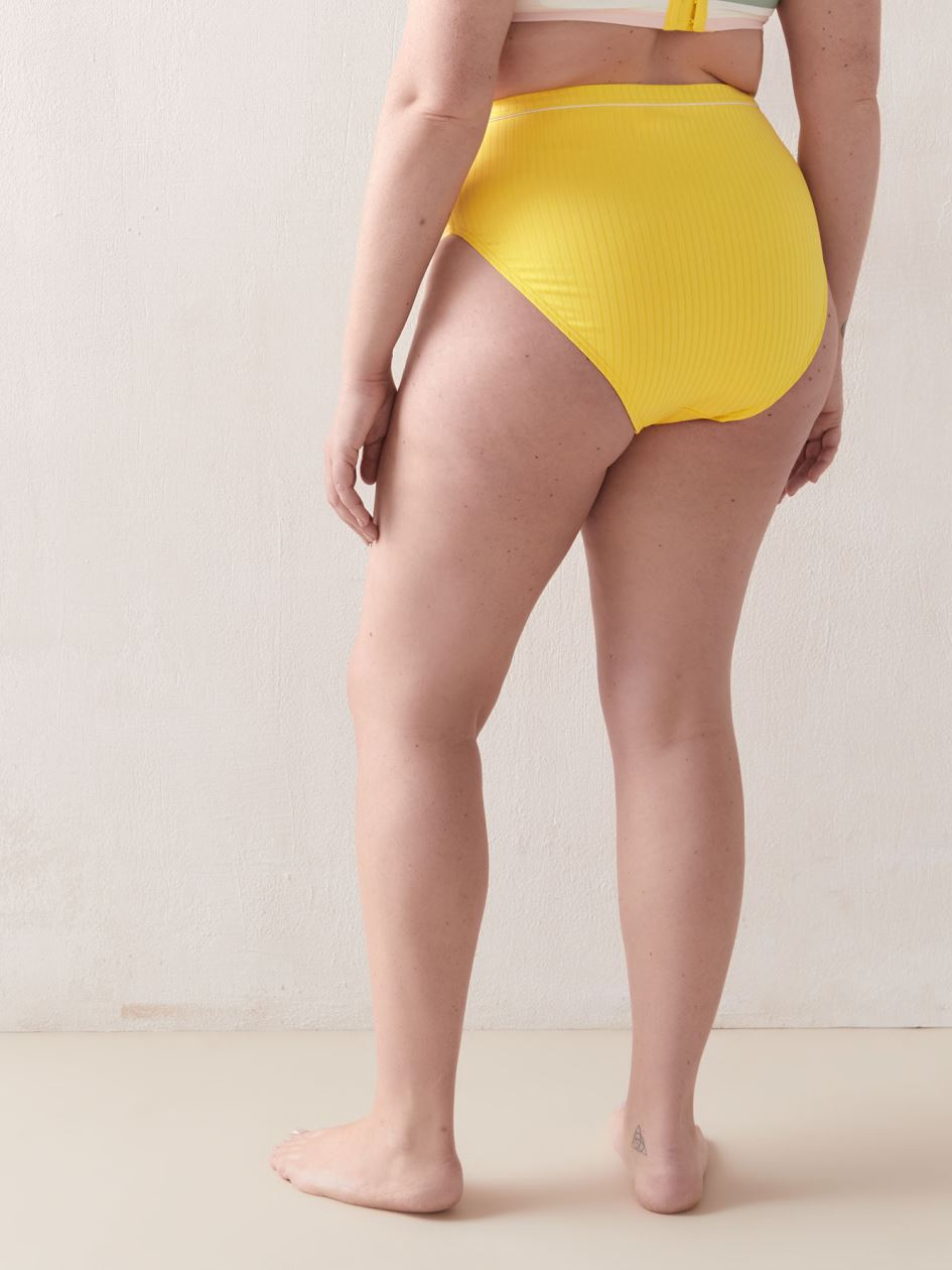 High Waist Ribbed Bikini Bottom - Addition Elle