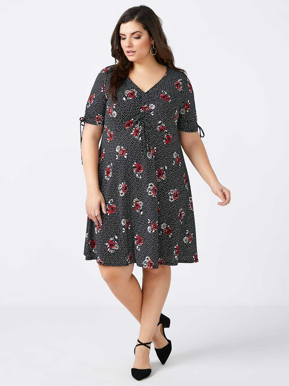 ONLINE ONLY - Fit and Flare Floral Dress with Bow Detail - In Every Story