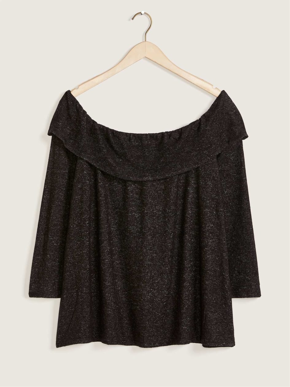 Long-Sleeve Off-Shoulder Knit Top - In Every Story