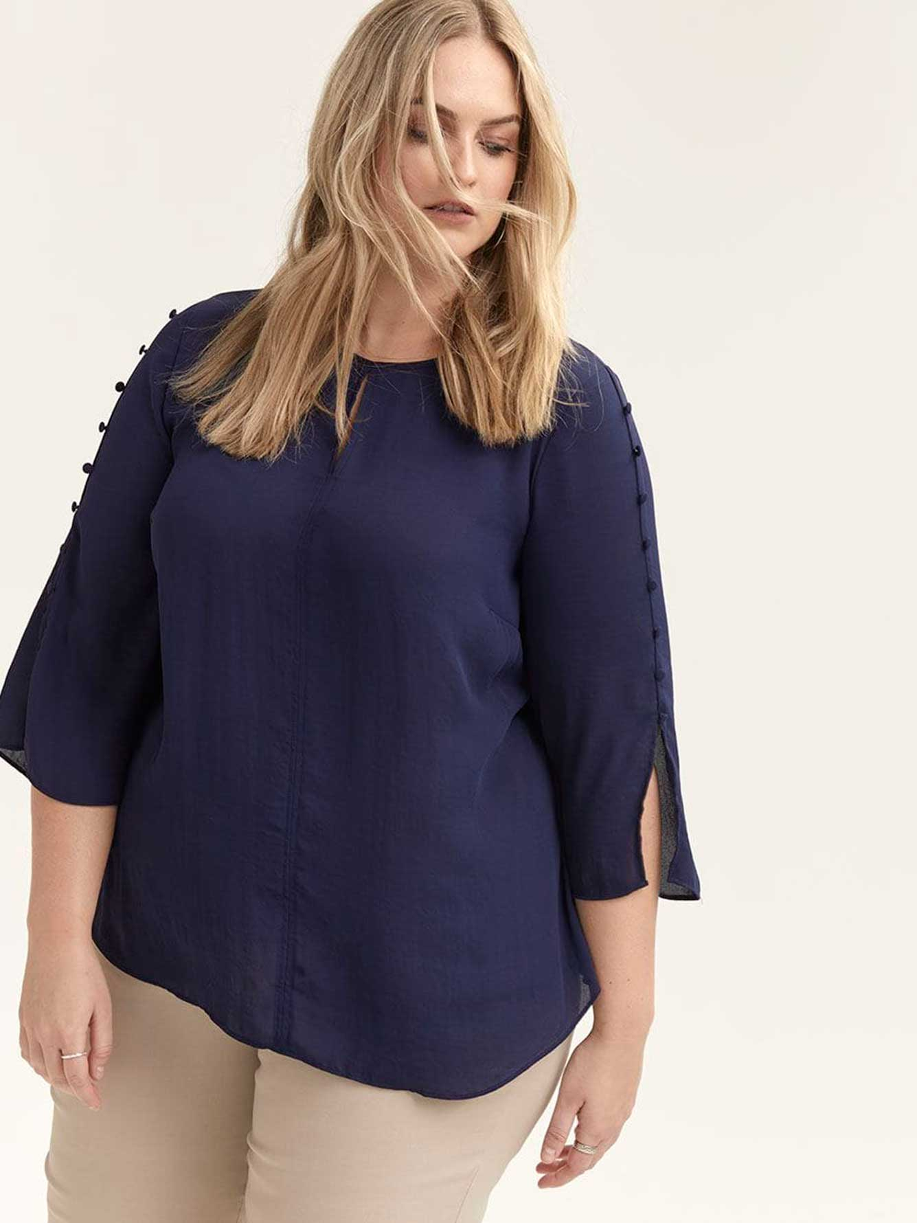 3/4 Sleeve Blouse with Buttons - d/C JEANS