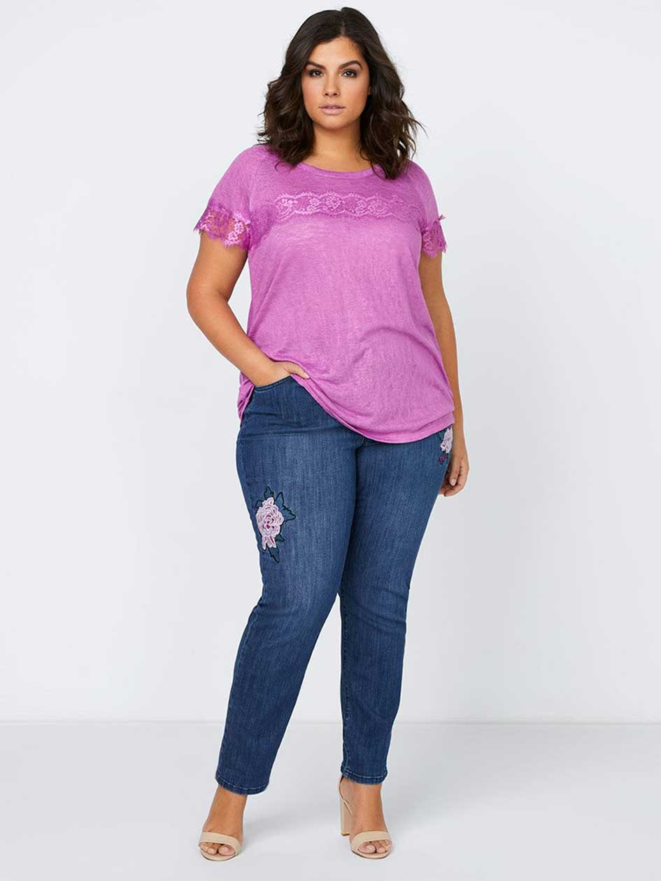 Slightly Curvy Straight Leg Jean with Flower Embroidery - d/C JEANS
