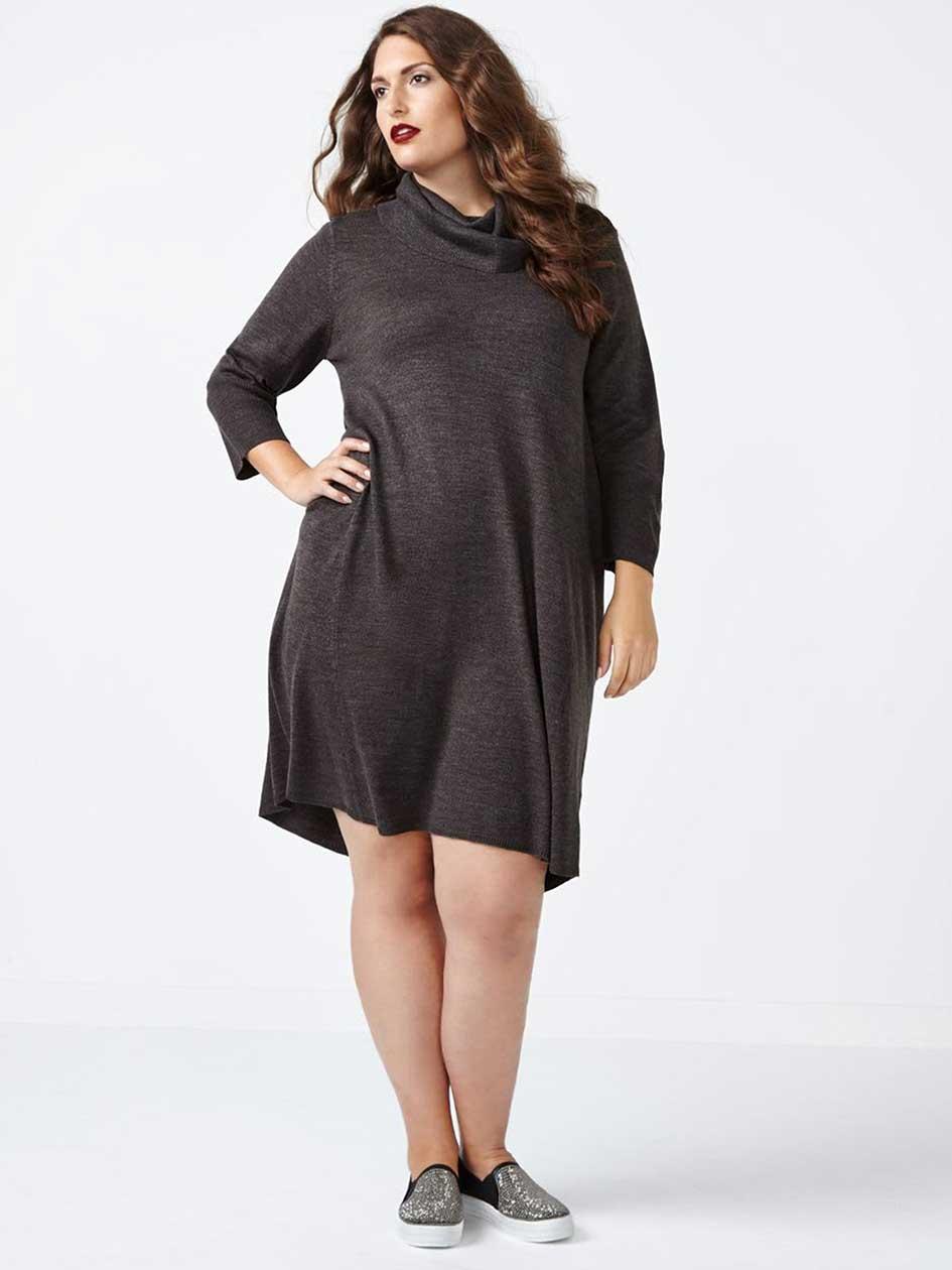 3/4 Sleeve Cowl Neck A-Line Sweater Dress