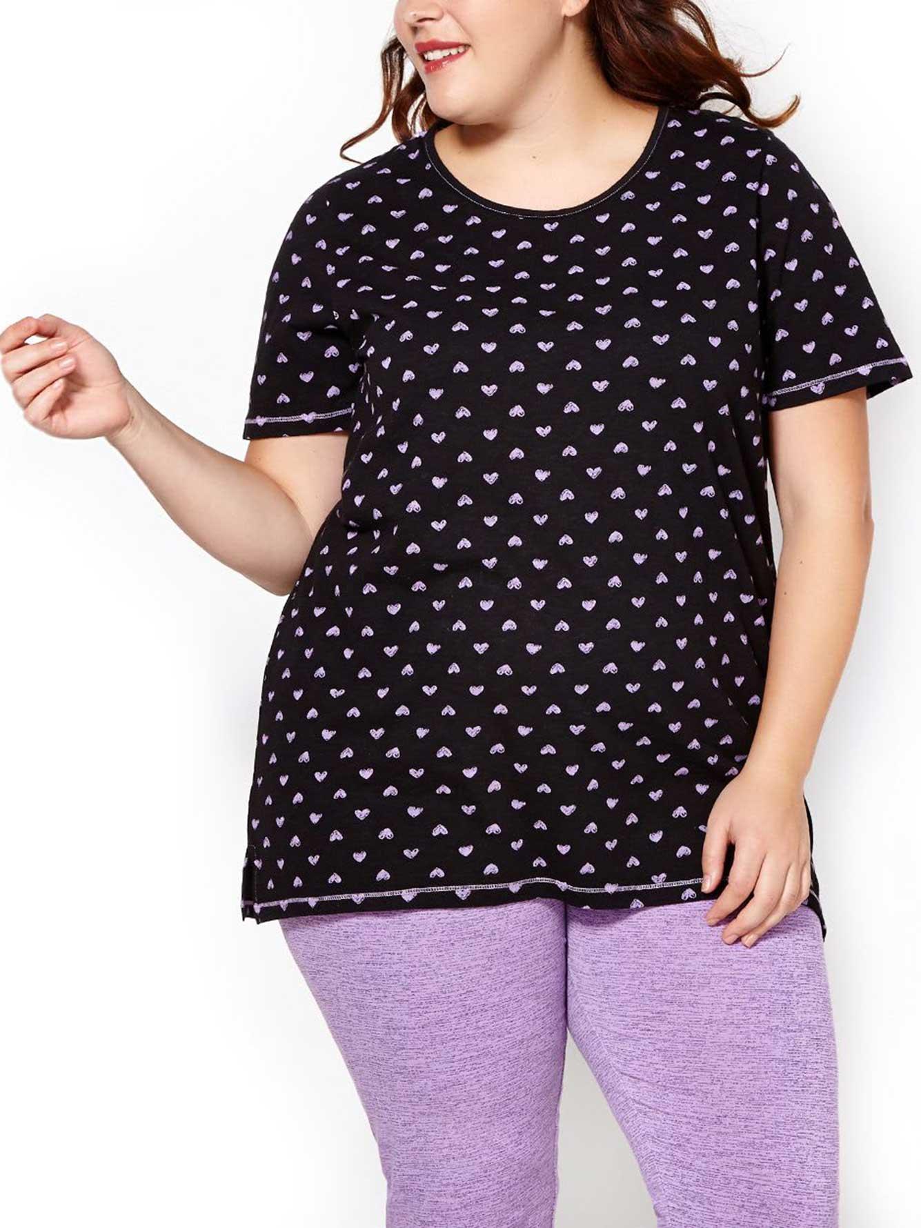 22b7002f7 Ti Voglio Printed PJ T-Shirt with Lace | Penningtons