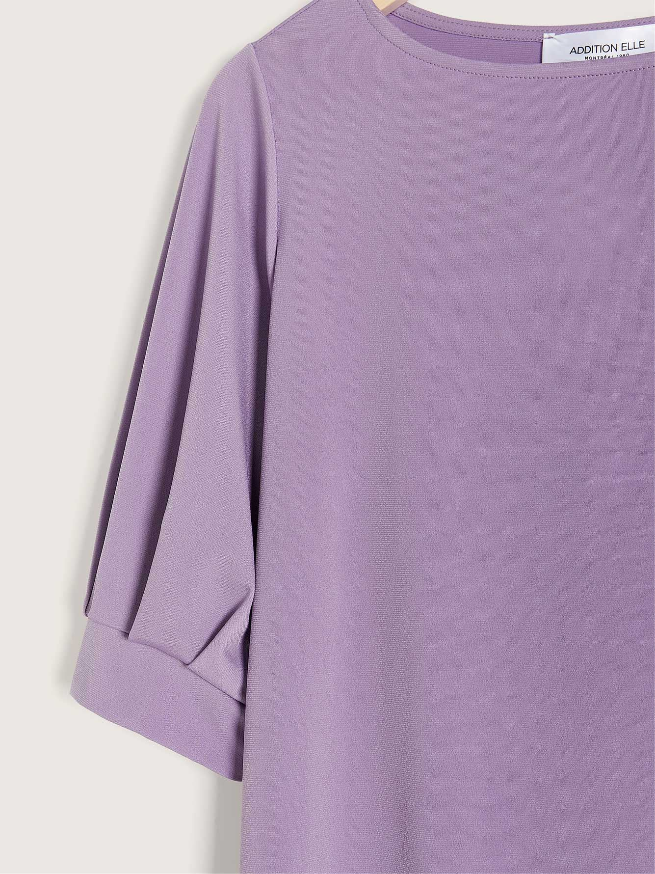 Boat Neck Elbow Sleeve Top - Addition Elle