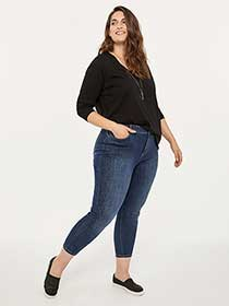 Slightly Curvy Skinny Leg Ankle Jean with Rhinestones - d/C JEANS